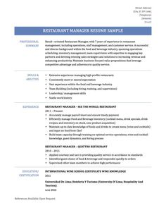 Assistant Restaurant Manager Resume Magnificent Assistant Restaurant Manager Resume 1  Hotel And Restaurant .
