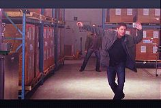 Jim, Jared & Jensen dancing offscreen gif. Beautiful. Jim looks slightly more awkward mind. Aww.