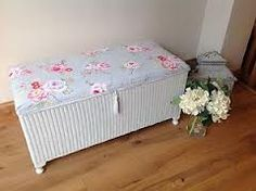 An old Lloyd Loom Shabby Chic ottoman repainted and recovered. Mirrored Furniture, Wicker Furniture, Shabby Chic Furniture, Vintage Furniture, Home Furniture, Furniture Design, Furniture Ideas, Painted Furniture, Shabby Chic Bedrooms