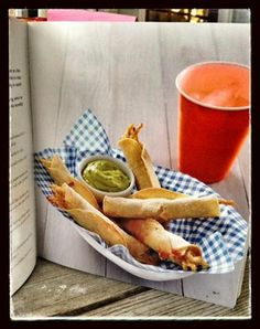Cheesy Chicken (Baked) Taquitos with an Avocado Lime Sauce.