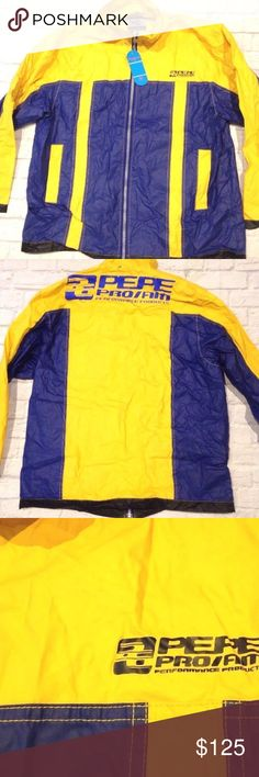 PEPE JEANS WINDBREAKER RAIN COLORBLOCK JACKET 90s NEW WITH TAGS  VINTAGE 1996 PEPE JEANS LONDON WINDBREAKER/RAIN JACKET   LABELED SIZE XL  PIT TO PIT=26''  ARMPIT TO END OF SLEEVE =18''  LENGTH=30''  Features / details:  - Zipper front closure - Hand pockets - Yellow & navy blue colors  - Appears that the hood is missing - There is some wear on the fabric from storage & being folded. See pictures Pepe Jeans Jackets & Coats Windbreakers