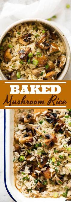 Baked Mushrooms, Stuffed Mushrooms, Vegetarian Recipes Dinner, Vegetarian Rice Dishes, Vegetarian Mushroom Recipes, Meatless Recipes, Rice Recipes For Dinner, Rice Bake Recipes, Mushroom Rice