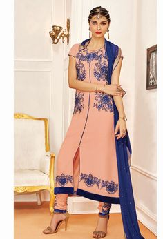 Semi #Stitched #Peach And Blue #Achkan Style #Salwar #Kameez #nikvik  #usa #designer #australia #canada #freeshipping #suits #pakistani