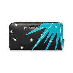 BIMBA Y LOLA wallet with Boom Boom print. Book-shaped model with print design of racing cars and explosions in red and blue against a black background