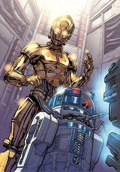C-3P0 & R2-D2 /by ?? #starwars #art