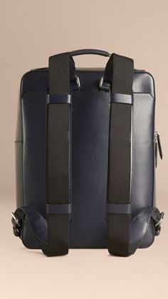 Dark navy London Leather Backpack 4