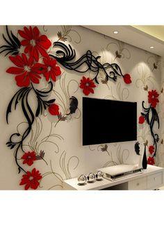 Discover thousands of images about Acrylic Material Living Room Wall Sticker 3d Wall Decor, 3d Wall Art, Wall Stickers Home Decor, Wall Tv, Tree Wall Murals, Wall Decorations, Wall Decals, Tv Wanddekor, Wall Art Wallpaper