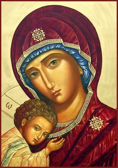 birth of Christ Mother of God - Ann Chapin Art Religious Images, Religious Icons, Religious Art, Images Of Mary, Mama Mary, Blessed Mother Mary, Byzantine Icons, Holy Mary, Madonna And Child