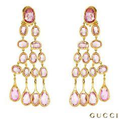 Earring - #GUCCI 35.00 CTW #Sapphire 18K #Gold #Chandelier #Earrings