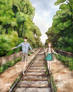 The way train l❤ve Love Cartoon Couple, Cute Love Cartoons, Anime Love Couple, Cute Couple Drawings, Cute Couple Art, Cute Drawings, Japon Illustration, Couple Illustration, Anime Couples Manga