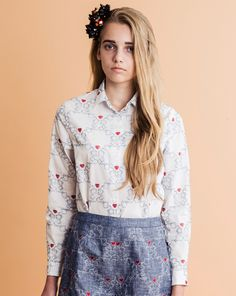 Afternoon tea all over embroidery long sleeve shirt with front buttons 100%  cotton Made in Japan S/M sizeLength: 64m /65cmBust: 99cm /103cmNeck point to Sleeve length : 77cm /78cm