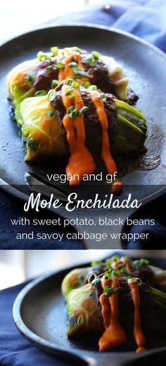 vegan and gluten free Mole Enchilada stuffed with sweet potato and ...