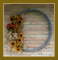 Fall barbed wire wreath