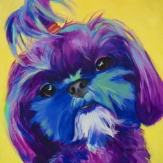 This purple, pony-tailed cutie pie was a 12x12 acrylic, pop art pet portrait on canvas. I am offering this image in several gallery wrapped canvas reproduction sizes: The gallery wrapped canvas reproduction is offered as a 12x12x125 or 16x161.25 or 24x241.25 giclee. A giclee is an image generated from high resolution digital scans and printed with archival quality inks onto various substrates including canvas, fine art, and photo-base paper. The giclee printing process provides better color…