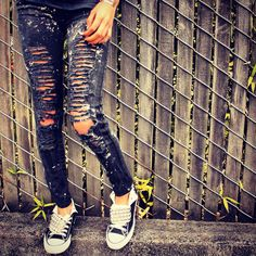 Ultra Distressed and Bleached Skinny Jeans + Studded Converse Shoes