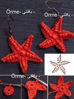 I miei lavori all'uncinetto: Orecchini a stella