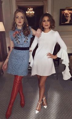 Fallon Carrington in a Gucci dress and Fendi boots, Cristal Flores in an Ellery dress and Louboutin heels on Dynasty Fashion Tv, Fashion Outfits, Womens Fashion, Der Denver Clan, Dynasty Clothing, Nathalie Kelley, Gucci Dress, Dress Me Up, Night Out
