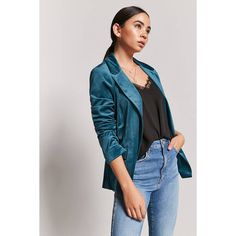 Forever21 Velvet Open-Front Blazer ($16) ❤ liked on Polyvore featuring outerwear, jackets, blazers, teal, forever 21 blazer, long sleeve blazer, short-sleeve blazers, teal jacket and long sleeve jacket