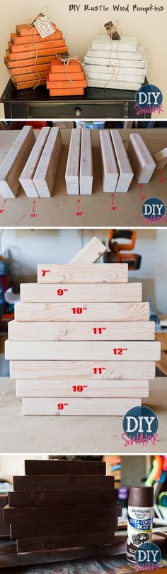 Check out the tutorial on how to make DIY rustic wood pumpkins from 2x4's for fall home decor @istandarddesign