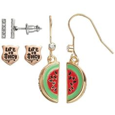 Juicy Couture Shield, Bar & Watermelon Stud & Drop Earring Set (Red) ($11) ❤ liked on Polyvore featuring jewelry, earrings, red, juicy couture jewelry, juicy couture earrings, juicy couture, fish hook earrings and stud earrings