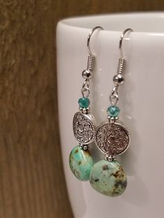 Excited to share the latest addition to my #etsy shop: Genuine African Turquoise and Pewter Earrings/Silver/Glass/Natural Stone/Turquoise/Gift for Her/Gift under 15/December Birthstone Jewelry #earrings #turquoise http://etsy.me/2okkTIf