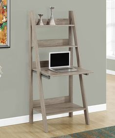 This Gray White Lexy TwoTone Leaning Desk is perfect