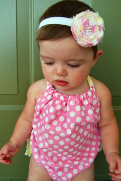 Got this outfit for baby girl, hair clip as well!  Yellow ruffles on the back.