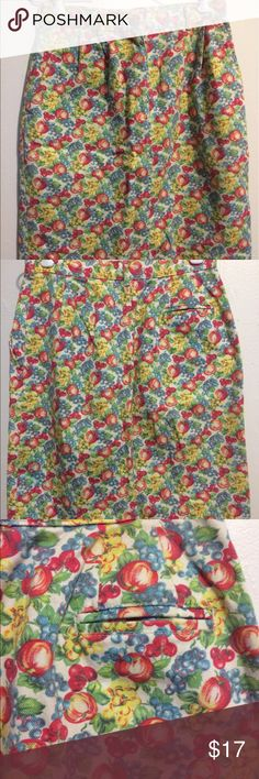 "J. Crew Fruity Denim Straight Skirt Size 10 Fun summer skirt with an allover fruit pattern of apples, cherries and berries!  Front zip, 2 side pockets and 1 back pocket. No vent. Skirt measures 21"" long with a waist of 14"" and hem of 19.5"" laying flat.   100% cotton. J. Crew Skirts A-Line or Full"
