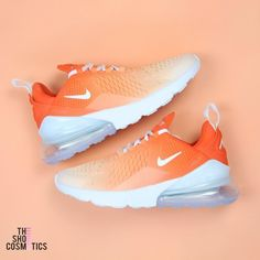 Explore our Orange Nike Air Max 270 custom sneakers. - Explore our Orange Nike Air Max 270 custom sneakers. Then these custom Nike shoes are perfect for you. Orange Nike Shoes, White Nike Shoes, White Nikes, Orange Sneakers, Women's Shoes, Me Too Shoes, Shoe Boots, Shoes Style