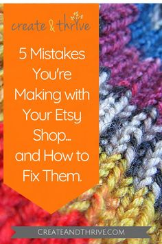 I've been teaching people about selling craft online for a few years now – and most of those people start out on Etsy.  But you know what? I keep seeing them all make the same mistakes.    Today, I'm going to share 5 mistakes that I see people make with their Etsy shop – and how you can fix them. Selling Crafts Online, Craft Online, Starting An Etsy Business, Craft Business, Business Ideas, Online Business, Etsy Seo, Etsy Crafts, Crafts To Sell