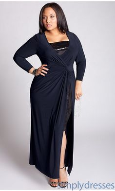 Long Navy Blue Dress with Sleeves IG-3A1003NVY