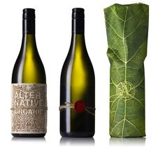 """Beautifully creative package design concepts for """"Alternative Organic Sauvignon Blanc"""" wine.  Natural tones, fibers and botanical inspirations effectively communicate that natural spirit to the would-be consumer."""