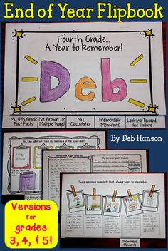 End of the Year Memory Flipbook- Students write and draw facts/events that they want to remember from this past school year. 5 tabbed pages. Versions included for grades 3, 4, and 5.