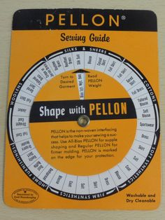 (Vintage Cardboard Wheel/Tool) Pellon Sewing Fabric Guide... match the fabric to the correct interfacing for fusing - cute! :)