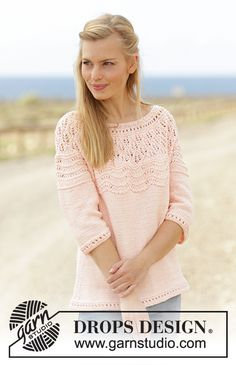 Knitted jumper with lace pattern, wave pattern and round yoke in DROPS Muskat. Size: S - XXXL. Hand Knitted Sweaters, Sweater Knitting Patterns, Knitting Designs, Crochet Patterns, Drops Design, Handgestrickte Pullover, Raglan, Summer Knitting, Free Knitting