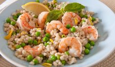 Shrimp-and-Pea-Barley-Risotto! I've had 'orgetto' a version of risotto with barley in a great restaurant...since then, I'm hooked! i've already make a bacon and pea 'orgetto' - - - have to try this one too!