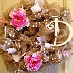 Spring Monogrammed Burlap Floral Wreath, Summer Monogrammed Wreath, Natural Wreath, Wooden Cross Wreath, Door Wreath, Pink Floral Wreath on Etsy, $67.00