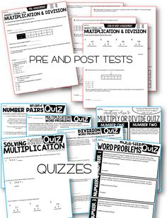 3rd grade math pre and post tests and quizzes