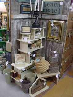 antique mall booth display ideas - display from little stools. Vintage Display, Antique Booth Displays, Antique Booth Ideas, Antique Mall Booth, Craft Booth Displays, Booth Decor, Display Ideas, Market Displays, Store Displays