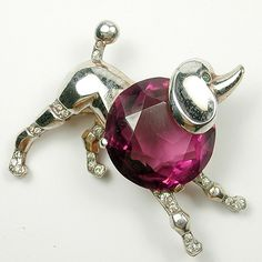 Trifari Sterling 'Alfred Philippe' Amethyst Bellied Poodle Pin 1952