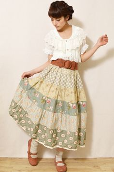 cute floral skirt mori girl / natural kei
