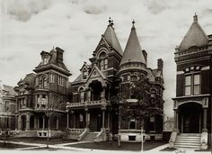 Brush Park, Detroit in the 1900's. The area experiences a decline in the 20th Century. The Great Depression led to many mansions being subdivided into apartments and others fell to disuse. Many of the mansions are beyond repair, some demolished. But the area is experiencing a revival.