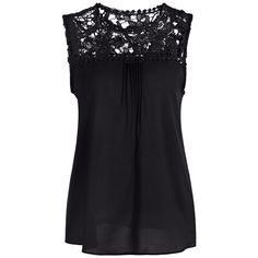 Openwork Lace Spliced Shirred Tank Top 9.65 USD