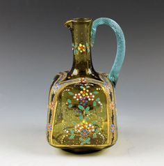 Bohemian Hand Painted Moser Glass Square Enameled Blue Threaded Handle Pitcher