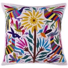 Multi-Colored Hand Embroidered Otomi Pillow with Insert- Mexican Textile