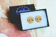 Wooden Calavera Stud Earrings by Nightmagnets on Etsy