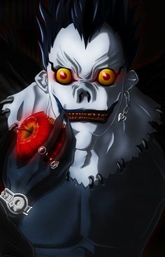 Ryuk - Death Note. He always wears a watch on his right wrist. Maybe Shinigami need to tell time?
