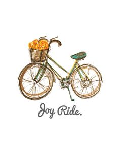 Bike illustration with 'Joy Ride' text, available at CityStrokes etsy shop