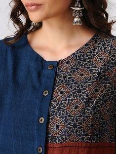 Best 12 Indigo-Maroon Button Down Block-printed Cotton kurta Salwar Neck Designs, Churidar Designs, Neck Designs For Suits, Kurta Neck Design, Dress Neck Designs, Blouse Designs, Printed Kurti Designs, New Kurti Designs, Kurta Designs Women