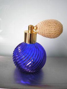 Vintage Perfume Bottle Vintage Atomiser Cobalt Glass Collectible Glassware Fragrance Bottle Vanity Scent Bottle Boudoir by CrystalPearlJewelry